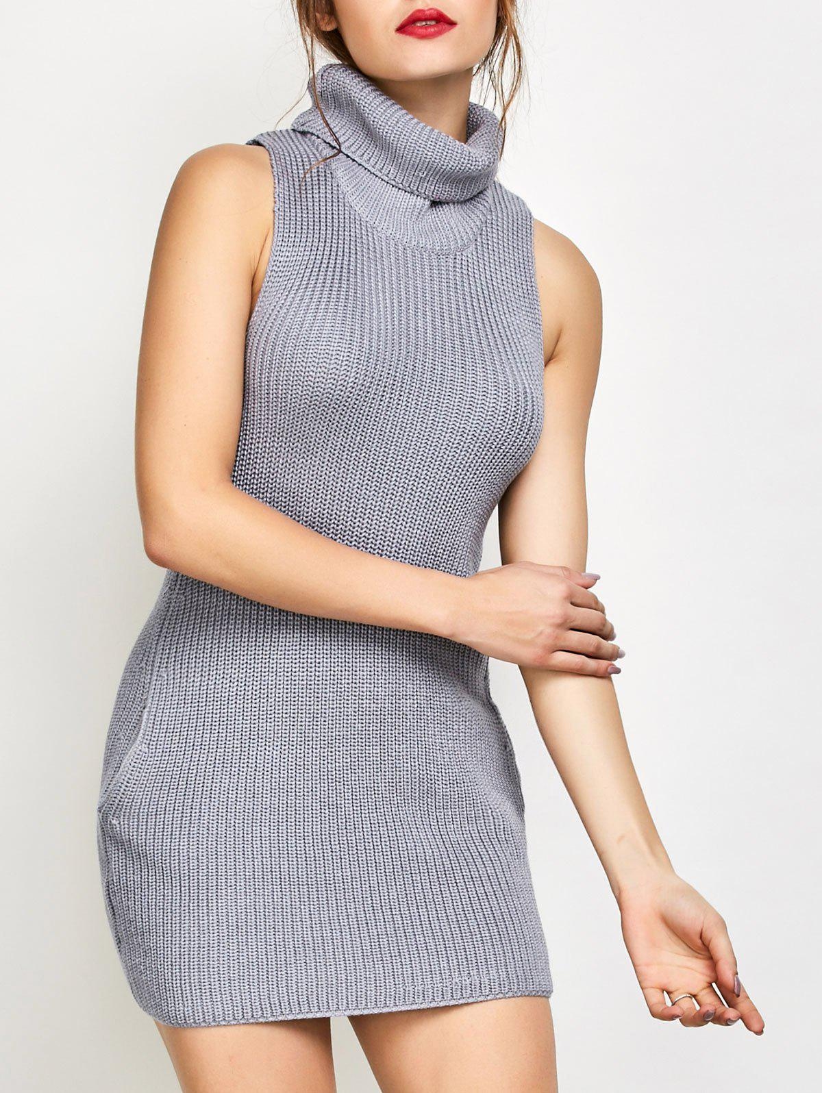 Sleeveless Turtle Neck Jumper Dress - GRAY M