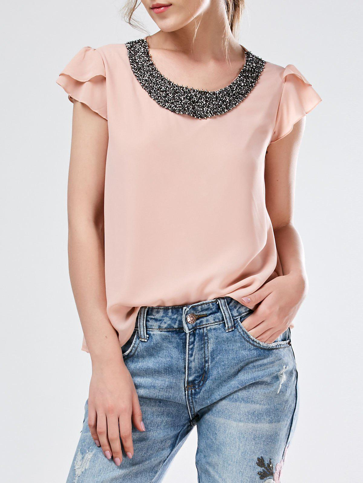 Beaded Flounced Chiffon BlouseWomen<br><br><br>Size: M<br>Color: NUDE PINK