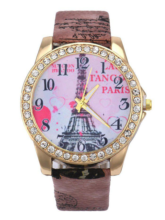 Rhinestone Eiffel Tower Faux Leather Quartz Watch - BROWN