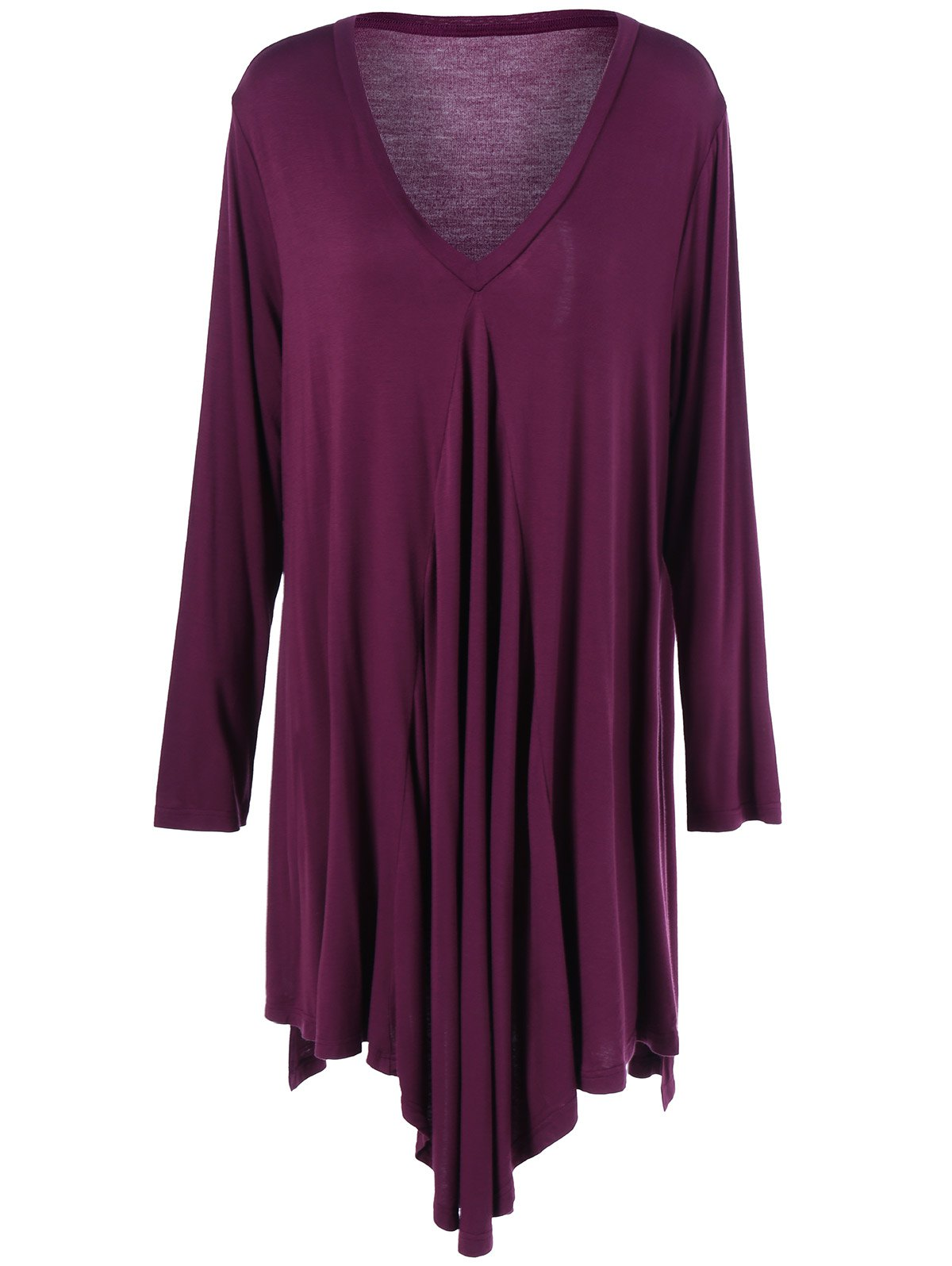 Plus Size Pleated Asymmetric Longline T-Shirt - PURPLISH RED 2XL