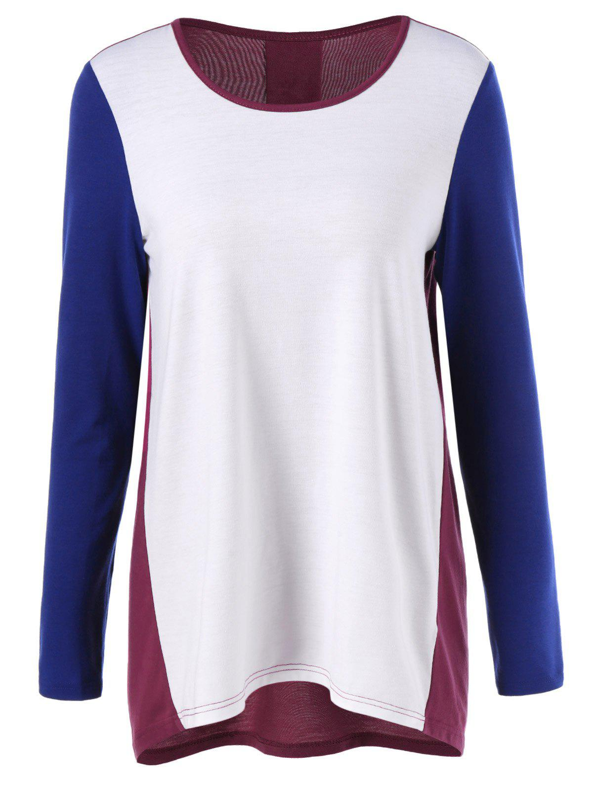 Color Block Curved T-ShirtWomen<br><br><br>Size: XL<br>Color: COLORMIX
