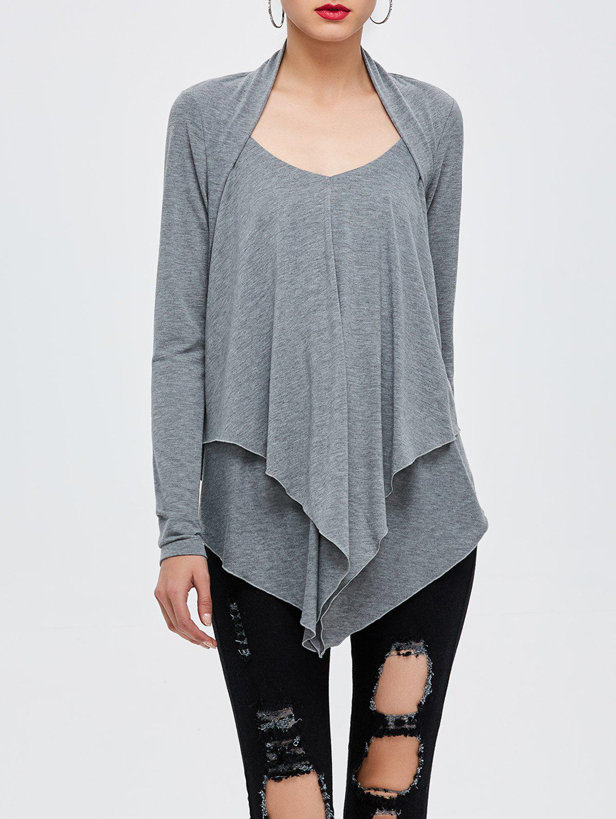 Layered Asymmetrical T-Shirt - GRAY XL