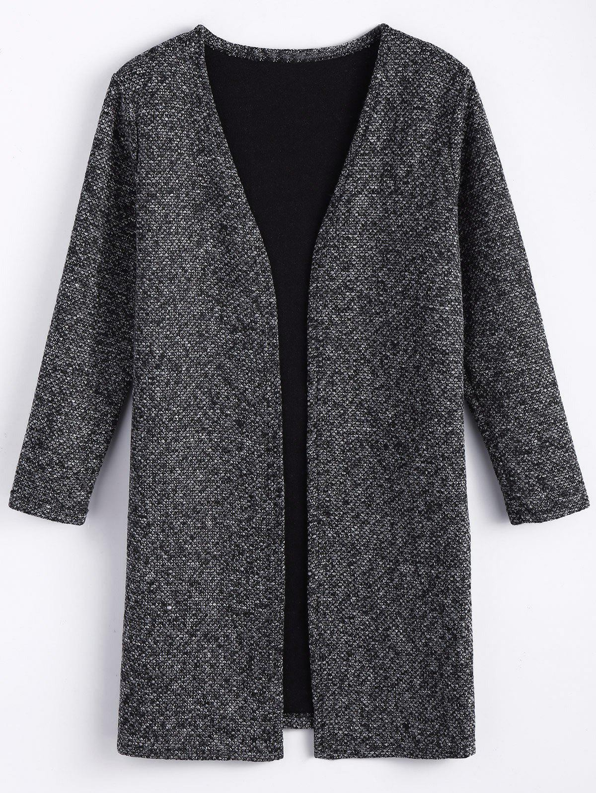 Plus Size Open Front Tweed Coat - BLACK GREY XL