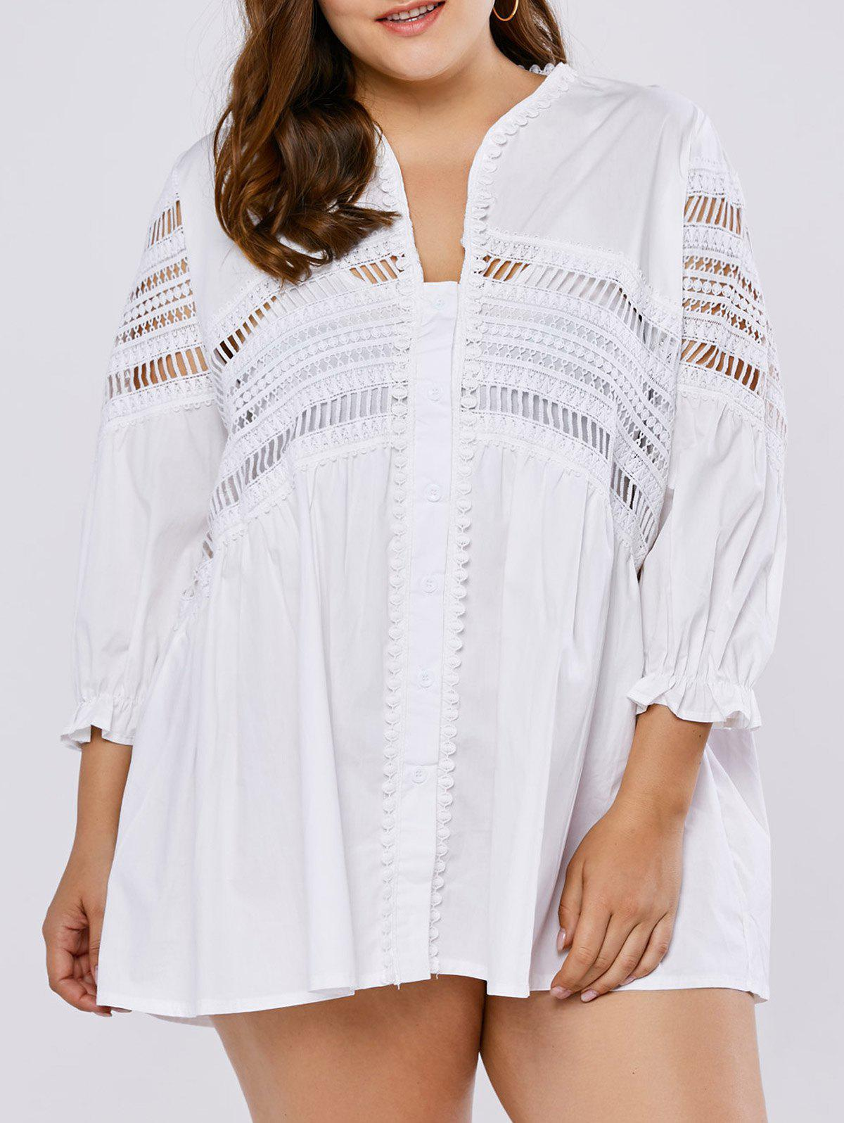 Plus Size Buttoned Openwork DressWomen<br><br><br>Size: ONE SIZE<br>Color: WHITE