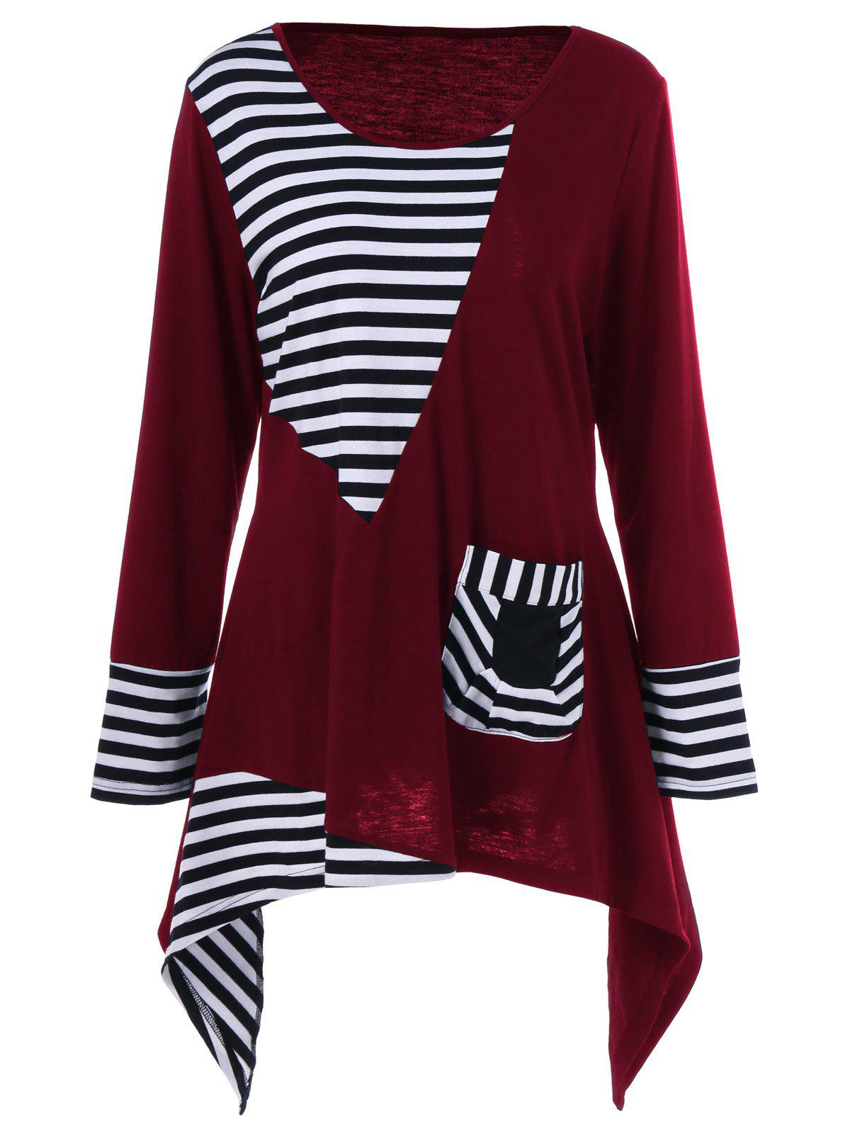 Plus Size Asymmetric Striped Tunic T-Shirt - RED 4XL