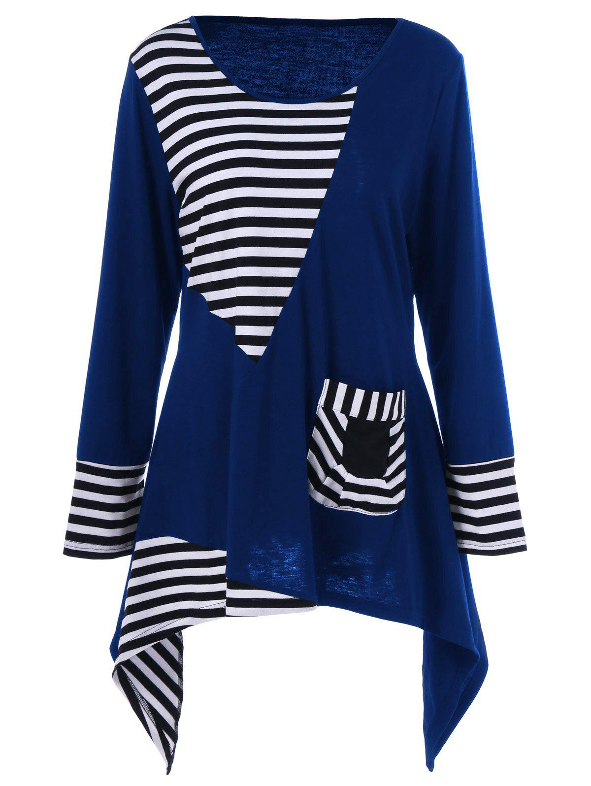 Plus Size Asymmetric Striped Tunic T-Shirt - BLUE 4XL