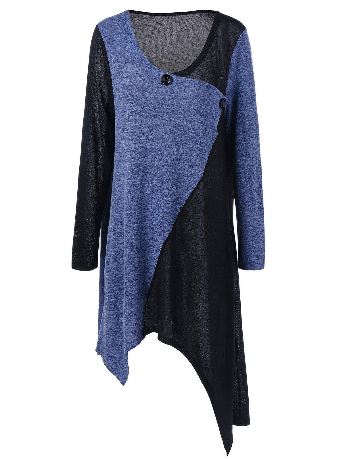 Plus Size Tunic Asymmetric T-Shirt - BLACK/PURPLE XL