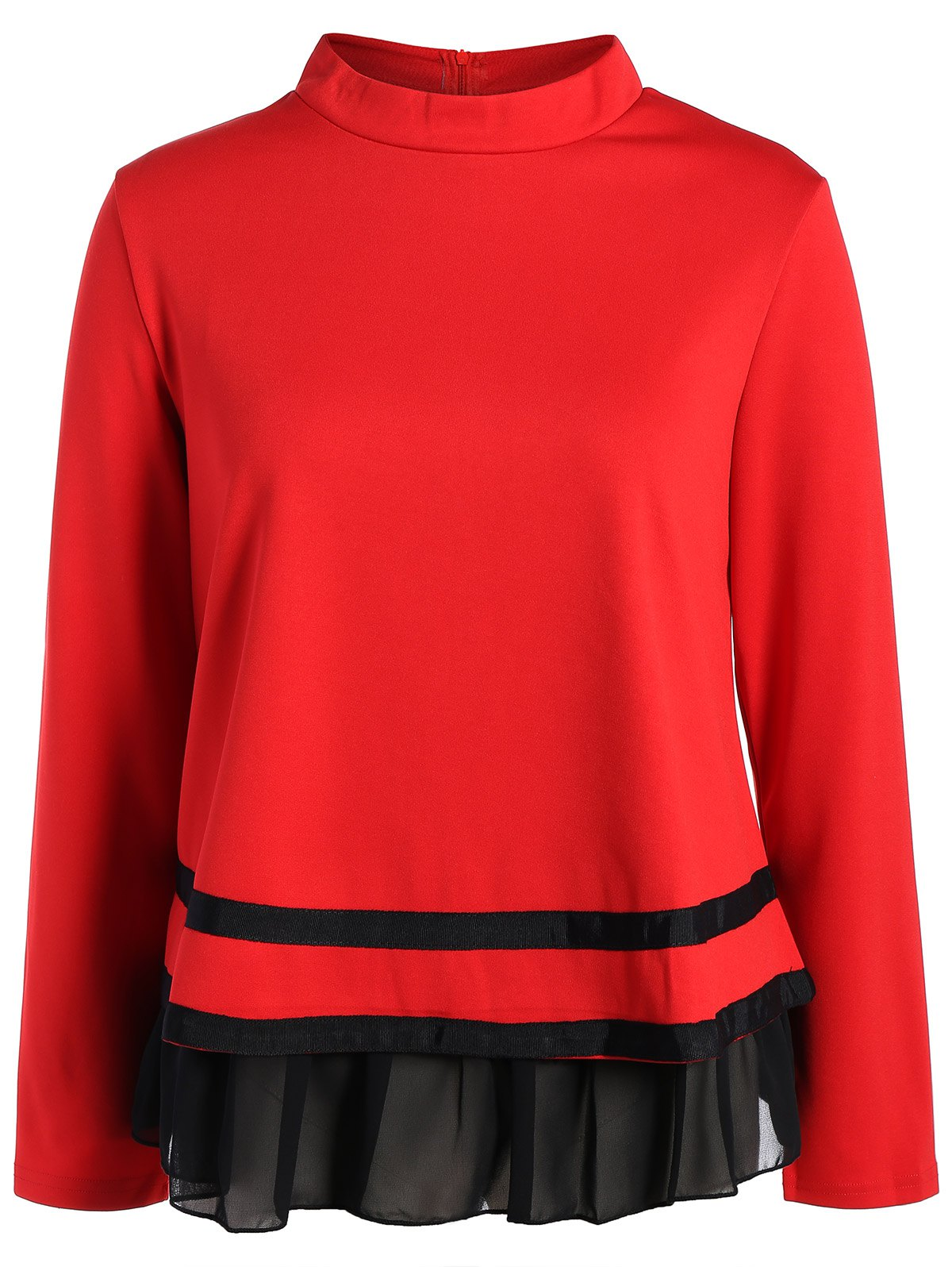 Plus Size Long Sleeve Chiffon Insert TeeWomen<br><br><br>Size: 3XL<br>Color: RED