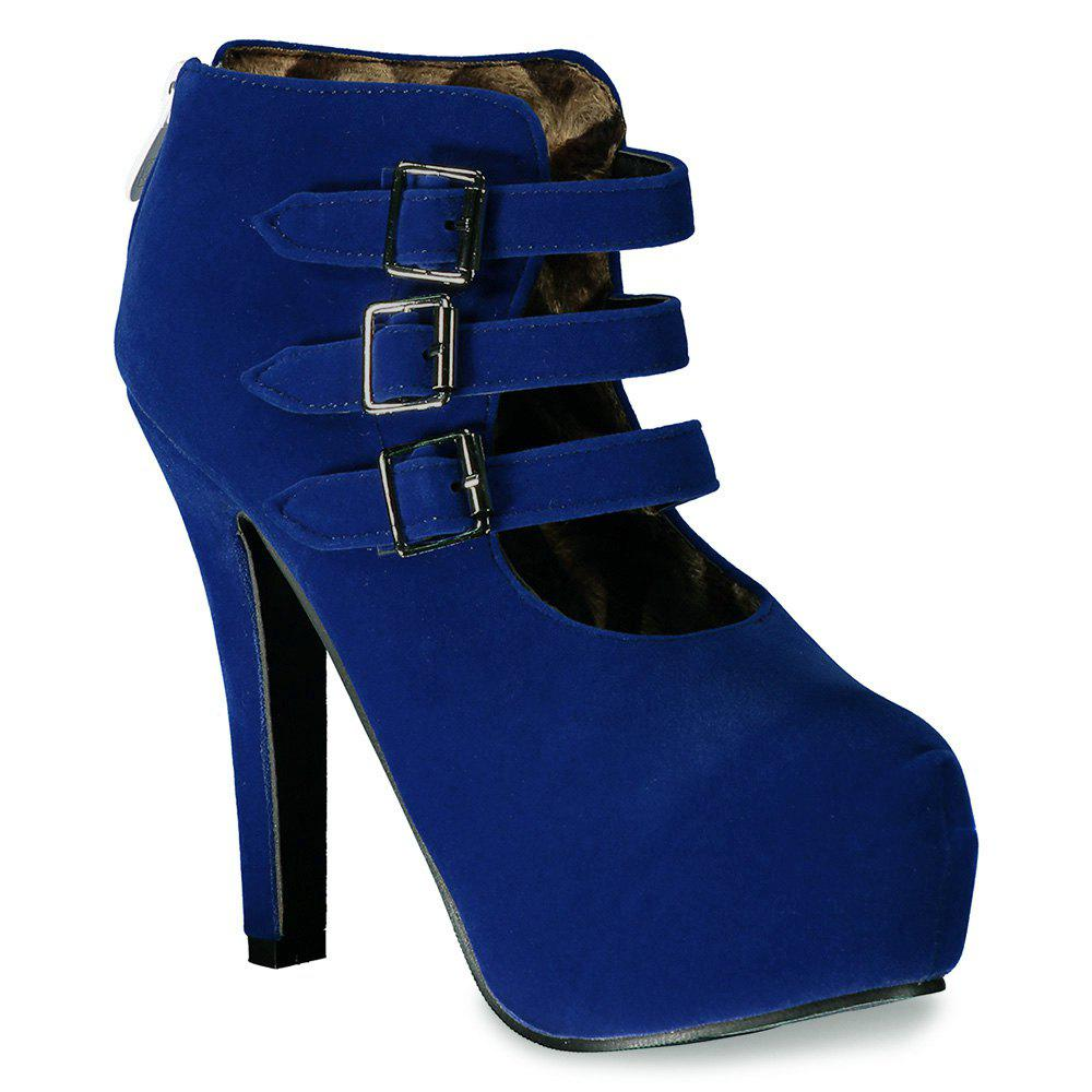 Trendy Flock and Buckles Design Women's Ankle Boots - DEEP BLUE 37