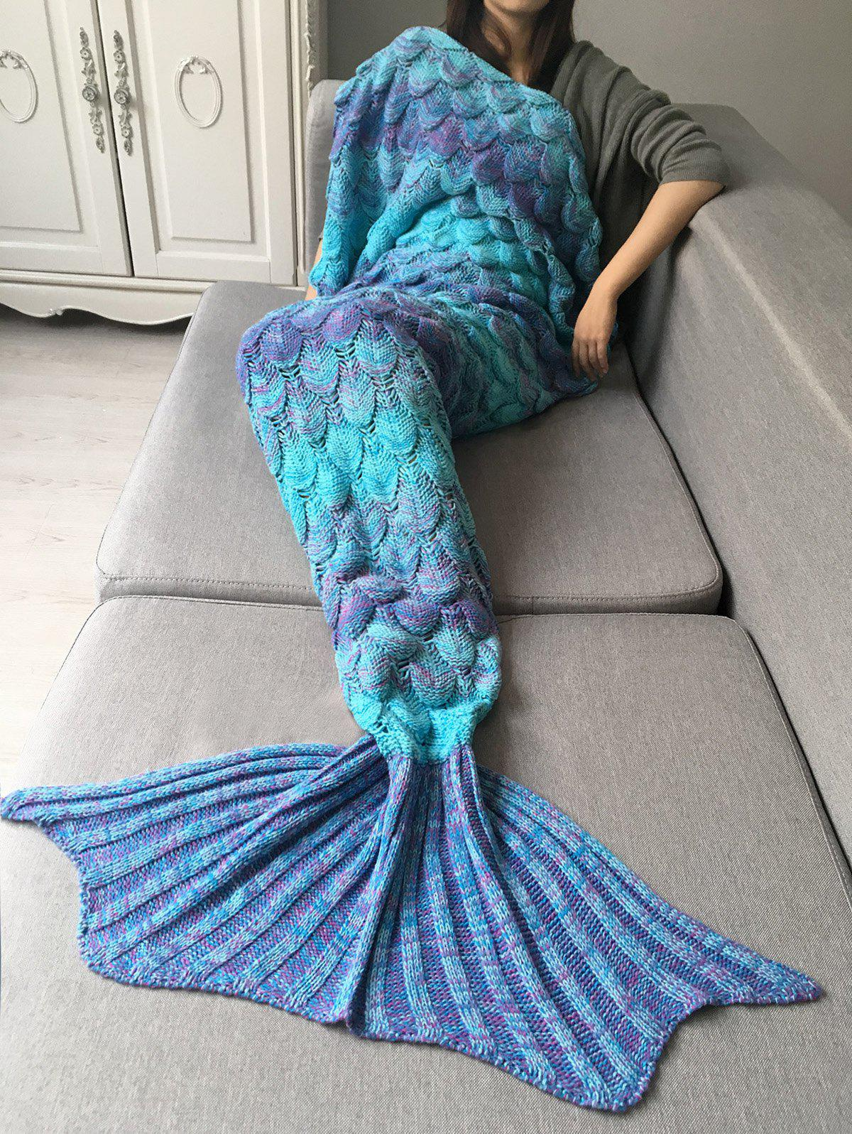 Ombre Crochet Fish Scale Wrap Mermaid Blanket