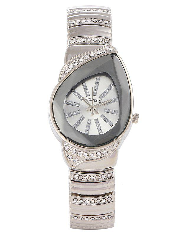 Rhinestone Water Drop Analog Watch - SILVER