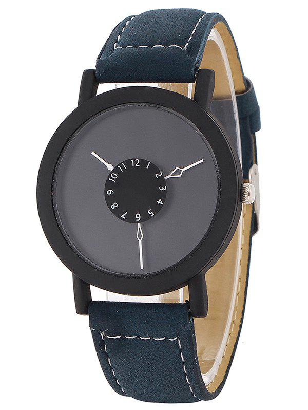 Faux Leather Band Number Analog Watch - BLUE