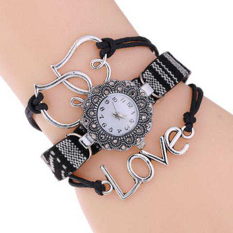 Woven Heart Faux Leather Bracelet Watch - BLACK