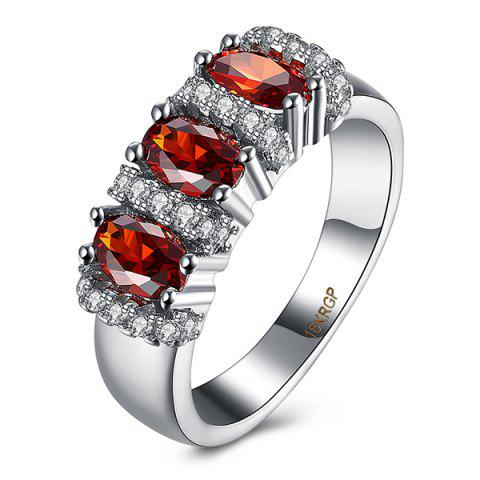Rhinestone Circle Faux Ruby Ring - RED 7