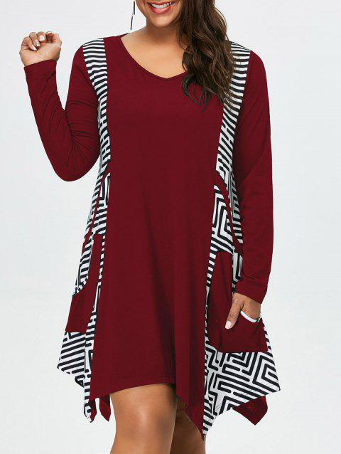 Plus Size Long Sleeve Asymmetrical Tee Dress with Pockets - DEEP RED XL