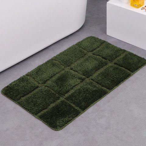 Gingham Plaid Water Absorbent Skidproof Rug - ARMY GREEN