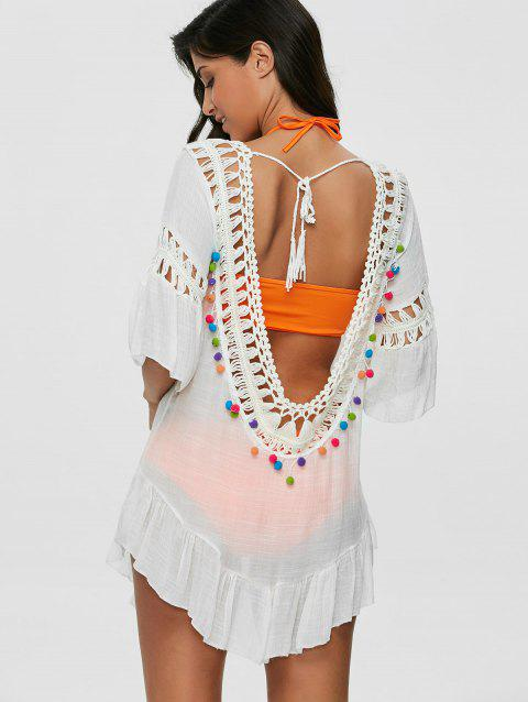 40238cf2e33 44% OFF] 2019 Pompon See-Through Crochet Tunic Beach Cover Up In ...