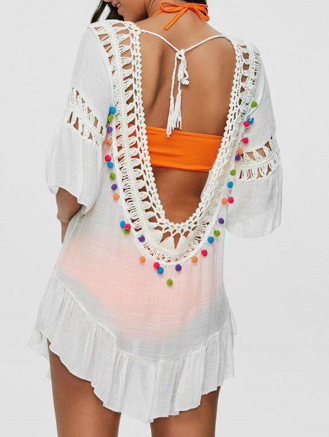 3278982ecd 46% OFF  2019 Pompon See-Through Crochet Tunic Beach Cover Up In ...