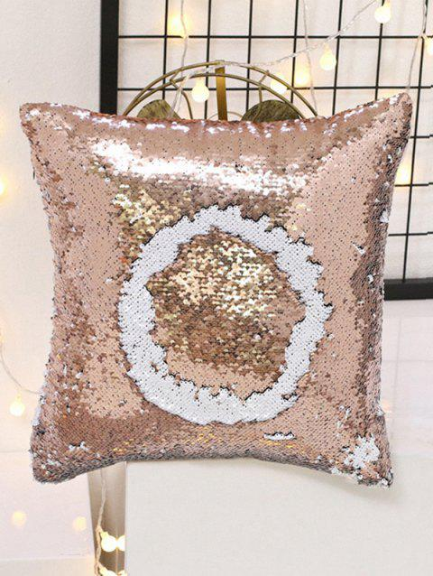 DIY Double Color Glitter Sequins Sofa Decorative Pillowcase - APRICOT