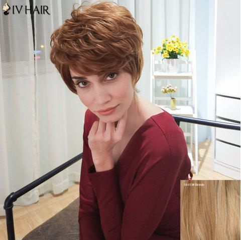 Siv Hair Short Curly Layered Inclined Bang Human Hair Wig - BLONDE
