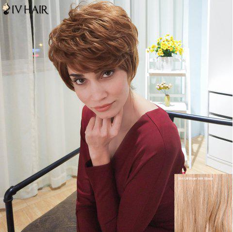 Siv Hair Short Curly Layered Inclined Bang Human Hair Wig - BROWN/BLONDE