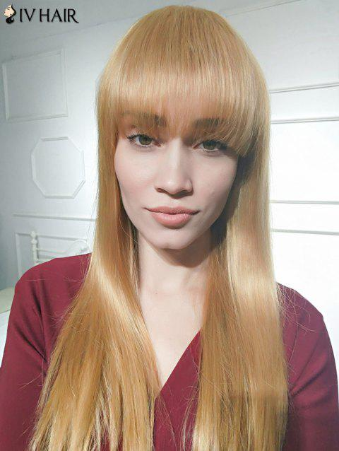 Siv Hair Over Neat Bang Long Silky Straight Human Hair Wig - LIGHT BLONDE