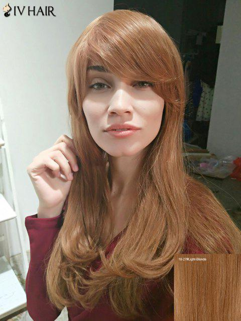 Siv Hair Inclined Bang Long Slightly Curled Shaggy Human Hair Wig - LIGHT BLONDE