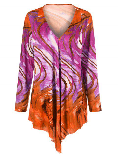 Tie Dye Plus Size Asymmetrical Tee - ROSE/ORANGE 5XL
