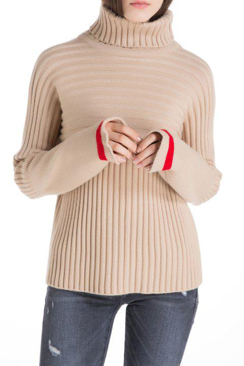 Ribbed Jumper Turtleneck Sweater - APRICOT ONE SIZE
