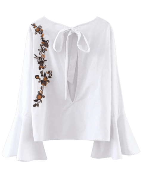 Flare Sleeve Floral Tied Blouse - WHITE L