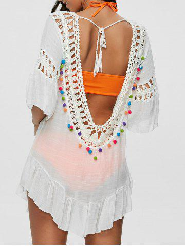 Pompon See-Through Crochet Tunic Beach Cover Up