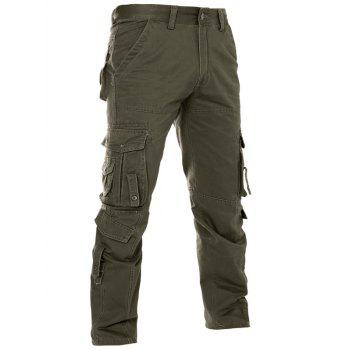 Pockets Solid Color Zipper Fly Straight Leg Men's Pants
