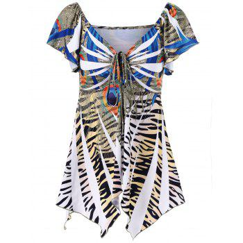 Zebra Print Empire Waist Asymmetrical T-Shirt - COLORMIX XL