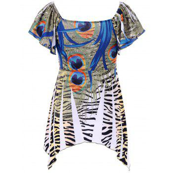 Zebra Print Empire Waist Asymmetrical T-Shirt - XL XL