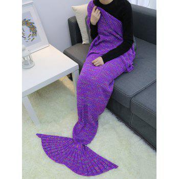 Keep Warm Winter Crochet Yarn Mermaid Blanket Throw - PURPLE