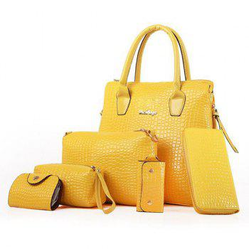 Crocodile Embossed Handbag 6Pc Set - YELLOW YELLOW
