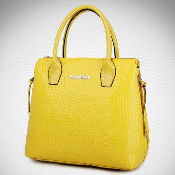 Crocodile Embossed Handbag 6Pc Set -  YELLOW