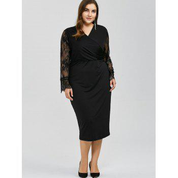 Long Sleeves Splicing Lace Bodycon Dress - BLACK 3XL