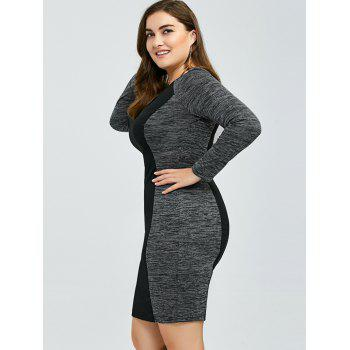 Heather Trim Sheath Dress - BLACK/GREY BLACK/GREY