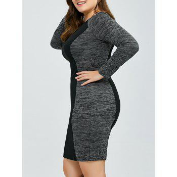 Heather Trim Sheath Dress - BLACK AND GREY BLACK/GREY