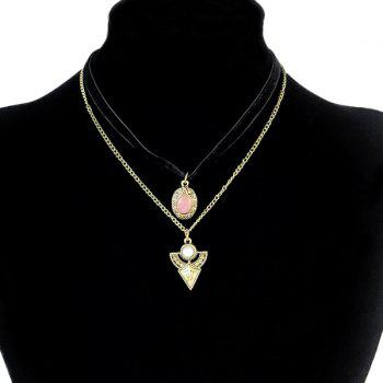 Triangle Round Faux Gem Necklaces