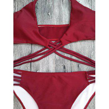 Halter Strappy Lace-Up Cutout Bikini Set - RED S
