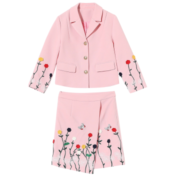 Embroidered Button Up Jacket and Asymmetric Wrap Skirt - PINK PINK