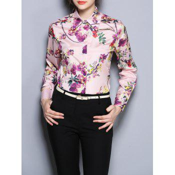 Floral Print Fitted Long Sleeve Shirt