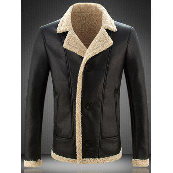 Lapel Buttoned Slim Fit  Faux Leather Jacket