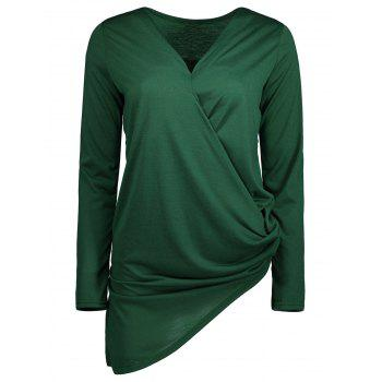 Ruched Asymmetrical Long Sleeve Wrap Top