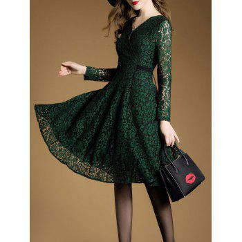 Lace A Line Swing Dress with Sleeves