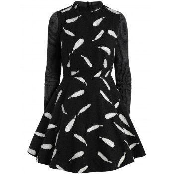 Feather Print Fit and Flare Mini Wool Dress