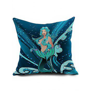 Mermaid Pattern Throw Sofa Decorative Pillowcase