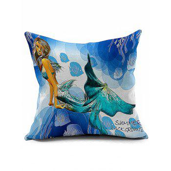 Mermaid Pattern Sofa Seat Backrest Pillowcase